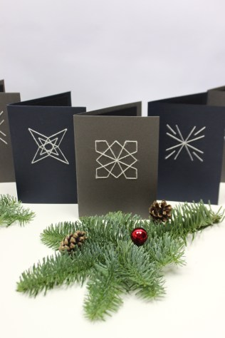 Sewing geometric Christmas Cards | Shelley Makes